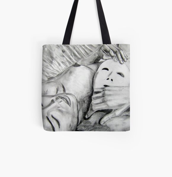 Mask - Drawn All Over Print Tote Bag