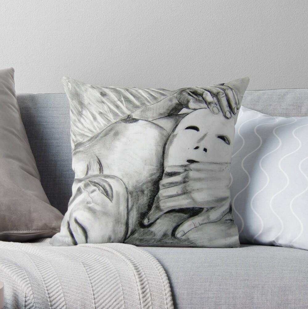 Mask - Drawn Throw Pillow