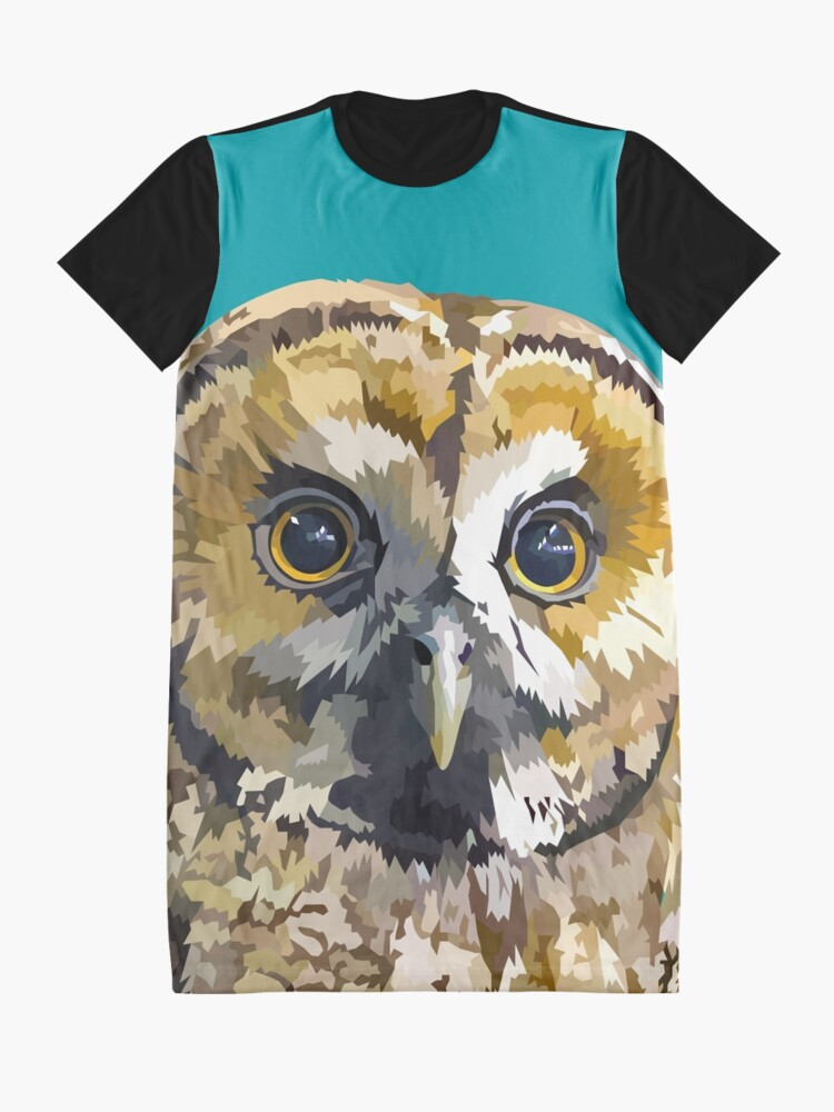 Alternate view of Sparkly eyed Owl  Graphic T-Shirt Dress