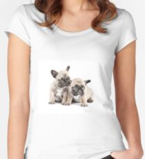 Frenchie Puppy Pals Women's Fitted Scoop T-Shirt
