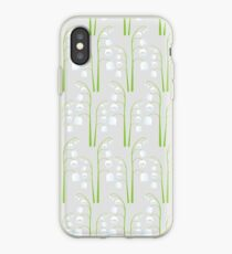 White Digital Lily of the Valley Floral Pattern iPhone Case