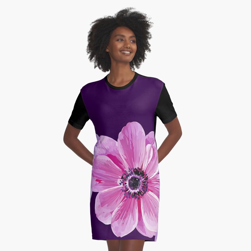 Pink Flower Power Graphic T-Shirt Dress