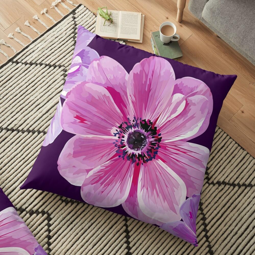 Pink Flower Power Floor Pillow