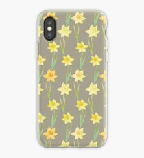 Yellow Watercolour Stemmed Daffodil Pattern on Khaki  iPhone Case