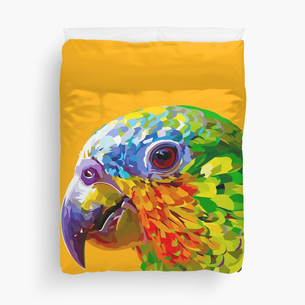 Rainbow colored parrot Duvet Cover