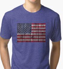 """Old Glory"" on wood Tri-blend T-Shirt"