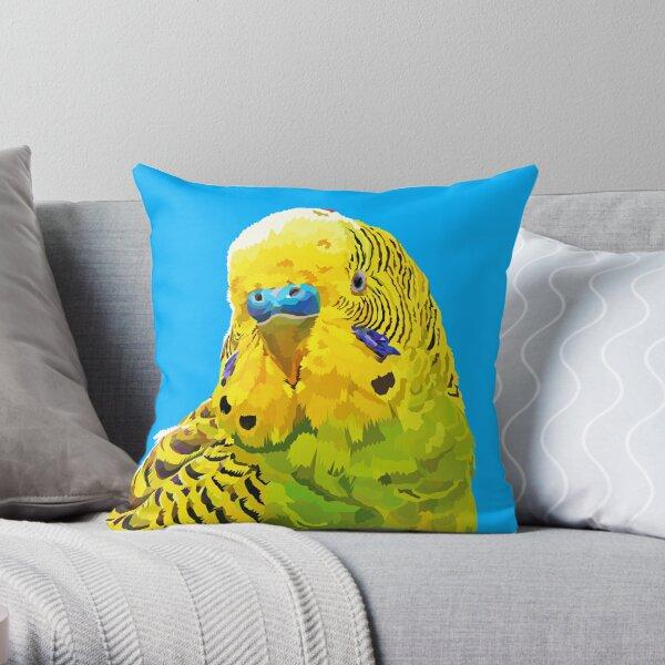 Yellow and Green Budgie Parakeet Throw Pillow