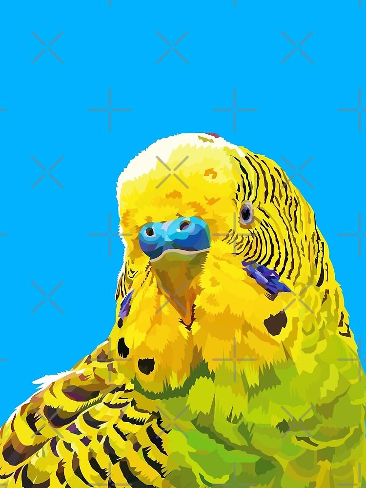 Yellow and Green Budgie Parakeet by Elviranl