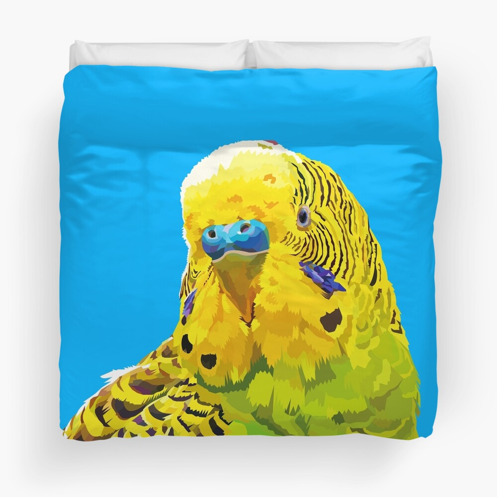Yellow and Green Budgie Parakeet Duvet Cover