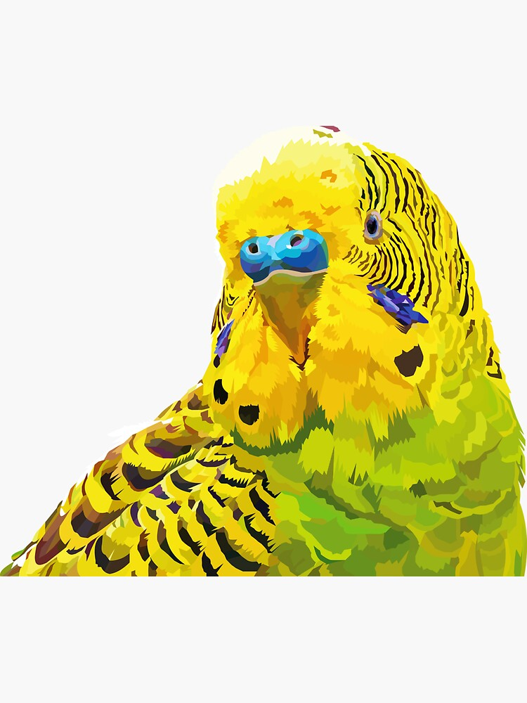 Yellow and Green Budgie Parakeet by Elviranl