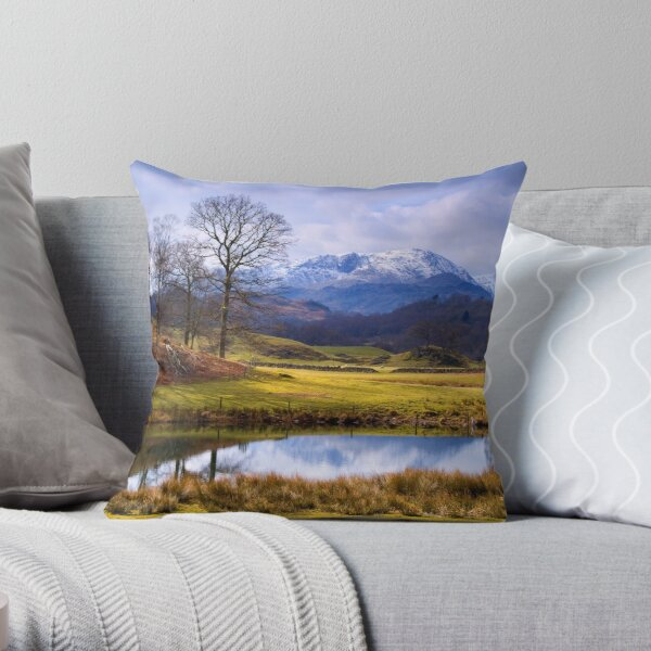 Wetherlam from The Brathay - The Lake District Throw Pillow