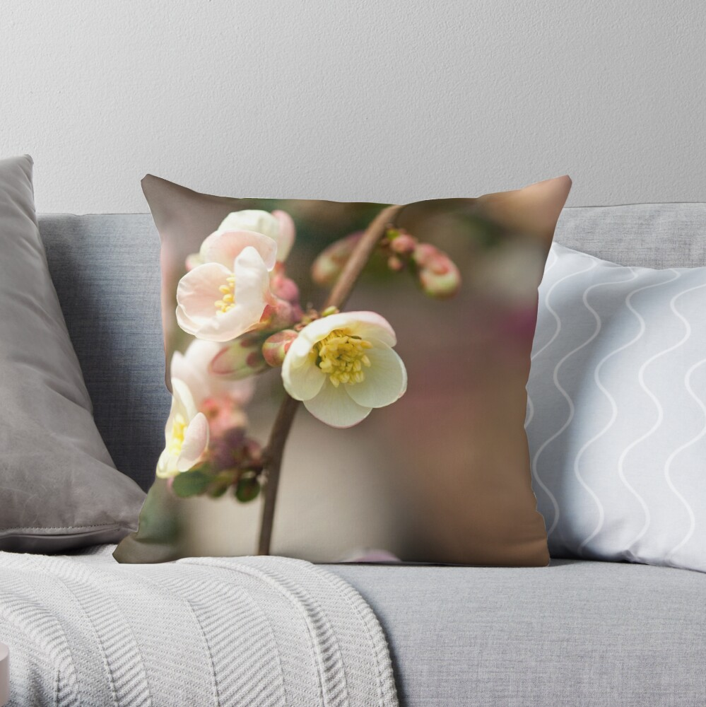 Quince Flower Throw Pillow