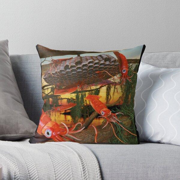 Ocean Invasion #8: Tending the Squid Hive Throw Pillow
