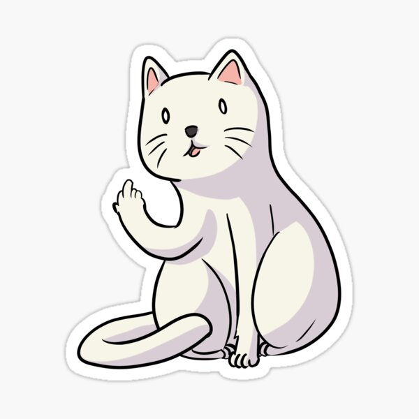 Hilarious cat with middle finger cat flipping off Sticker