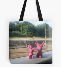Rabbits on a train Tote Bag
