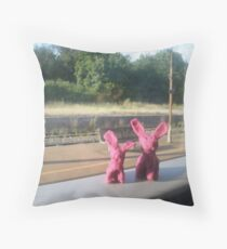 Rabbits on a train Throw Pillow