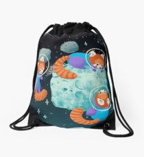 Red Space Pandas Drawstring Bag