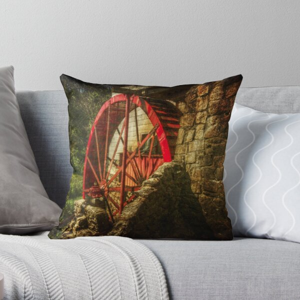 The Gristmill's Waterwheel Throw Pillow