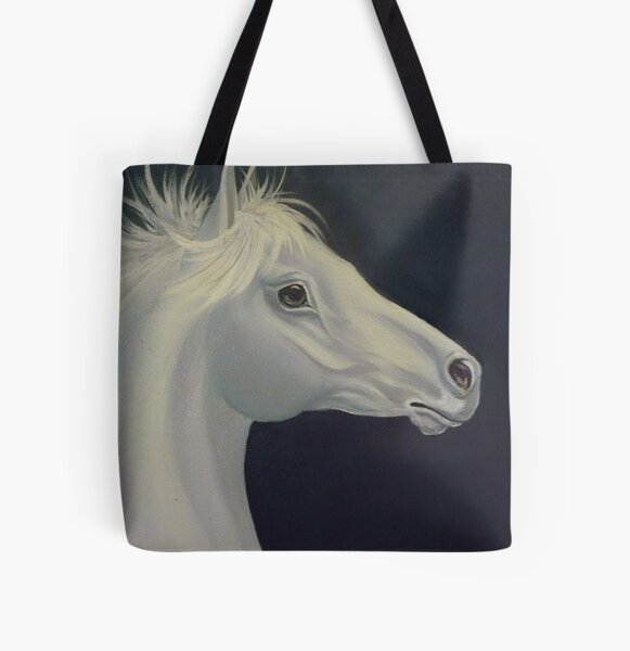 Silver Stallion All Over Print Tote Bag