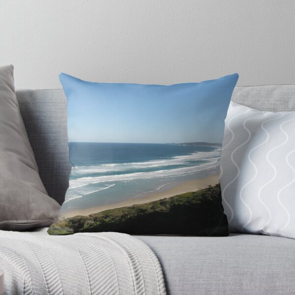 A crowded beach at Byron bay NSW. Throw Pillow