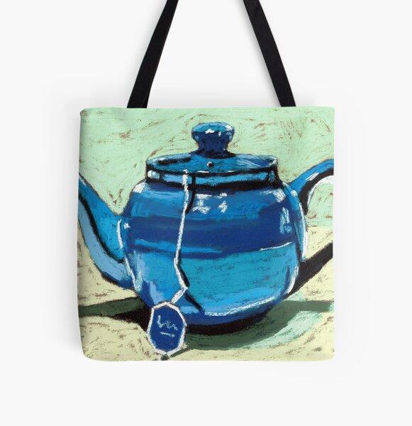 Tea time - blue teapot All Over Print Tote Bag