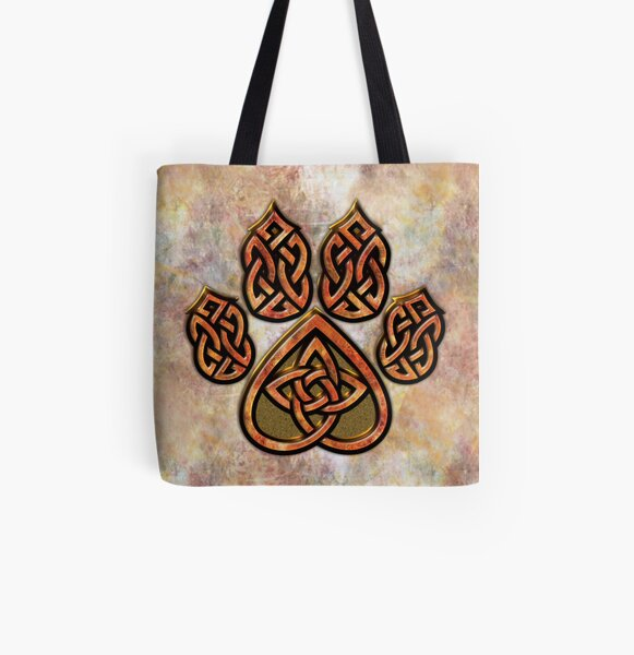 Celtic Knot Pawprint - Prints and Cards All Over Print Tote Bag