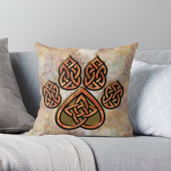 Celtic Knot Pawprint - Prints and Cards Throw Pillow