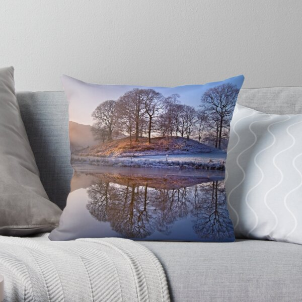 Clearing mist and reflections - River Brathay Throw Pillow