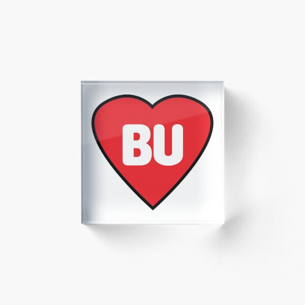 Boston University BU Heart Sticker Acrylic Block