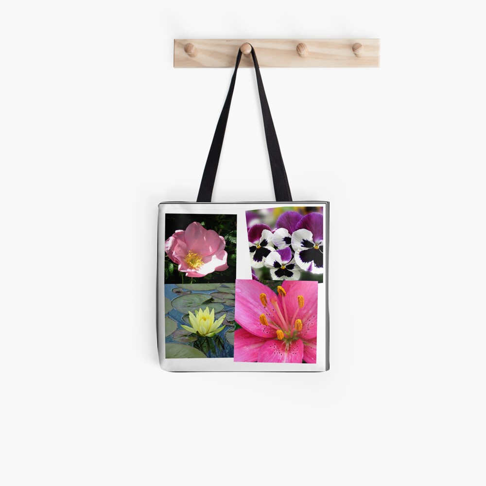 Summer Flowers Collage Tote Bag
