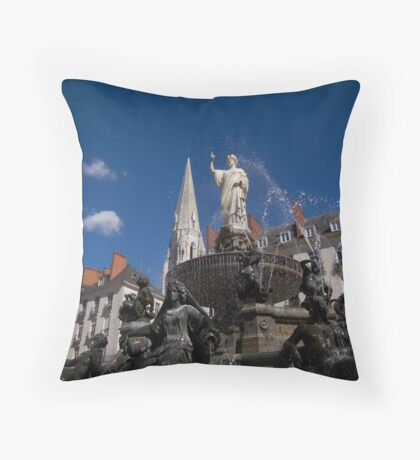 Fountain on Place Royale Throw Pillow
