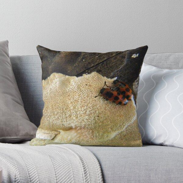 Beetles on Fungus Throw Pillow