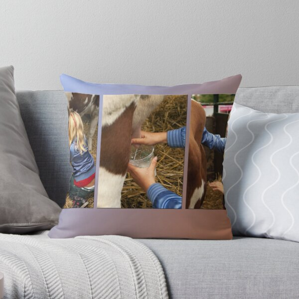 The girl and the cow - triptych 2 Throw Pillow