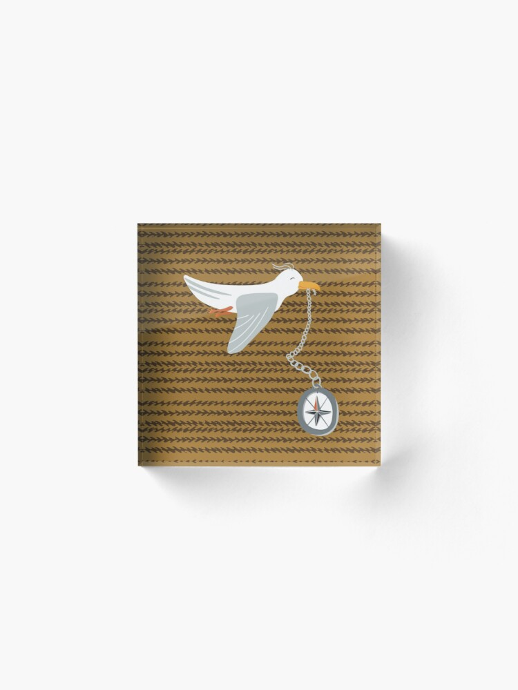 Alternate view of Funny seagull fleeing with compass in beak Acrylic Block
