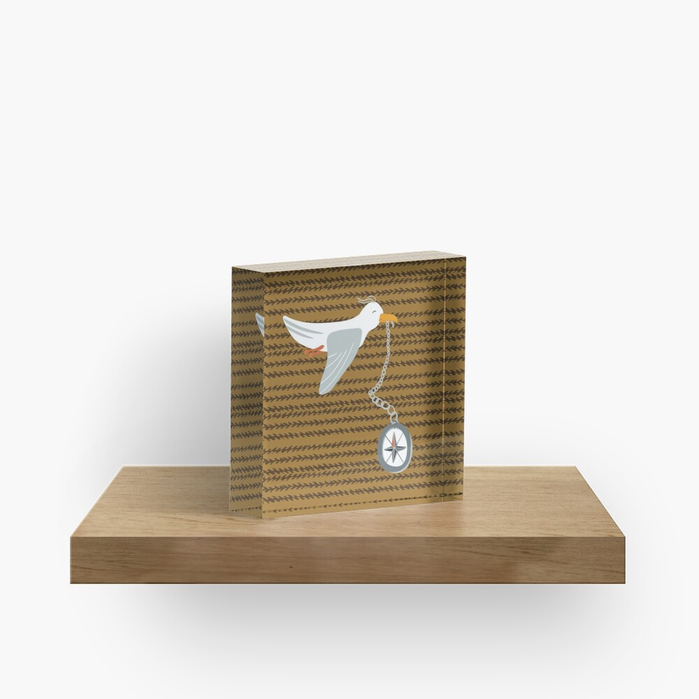 Funny seagull fleeing with compass in beak Acrylic Block