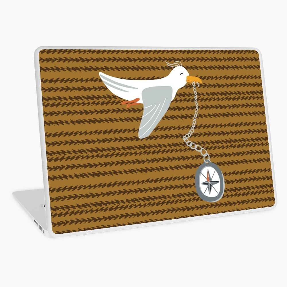 Funny seagull fleeing with compass in beak Laptop Skin