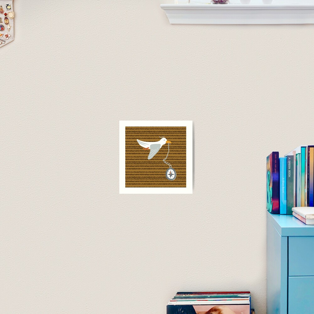 Funny seagull fleeing with compass in beak Art Print