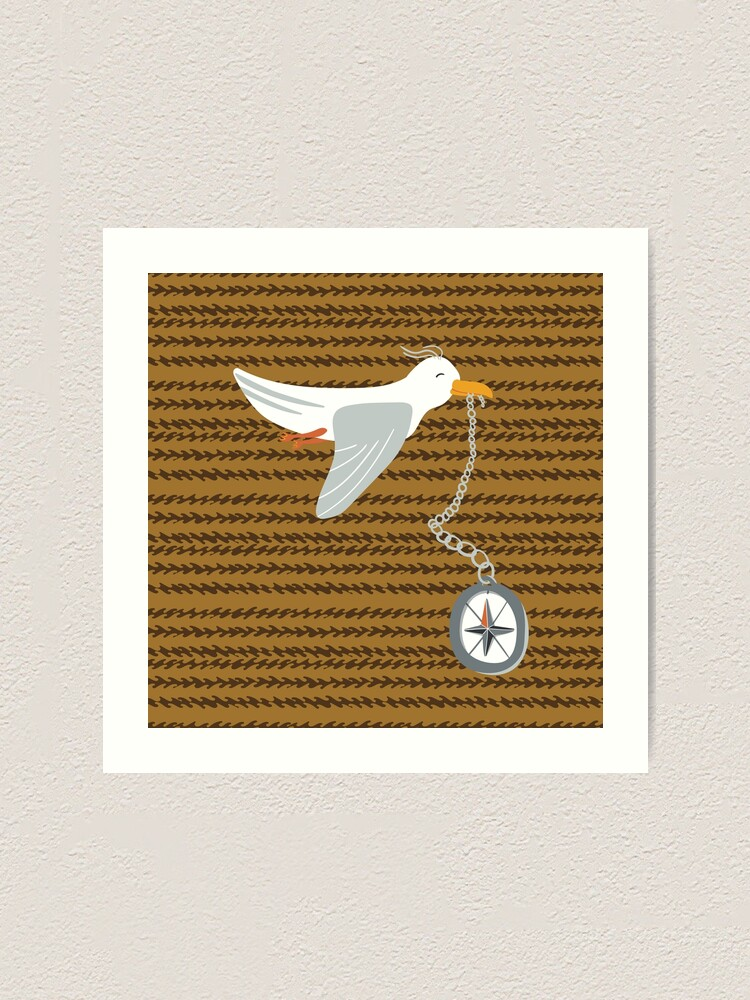 Alternate view of Funny seagull fleeing with compass in beak Art Print