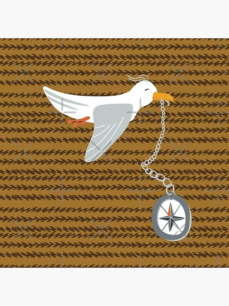 Funny seagull fleeing with compass in beak by nobelbunt