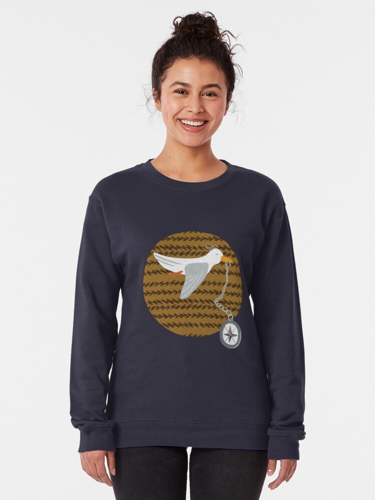 Alternate view of Funny seagull fleeing with compass in beak Pullover Sweatshirt