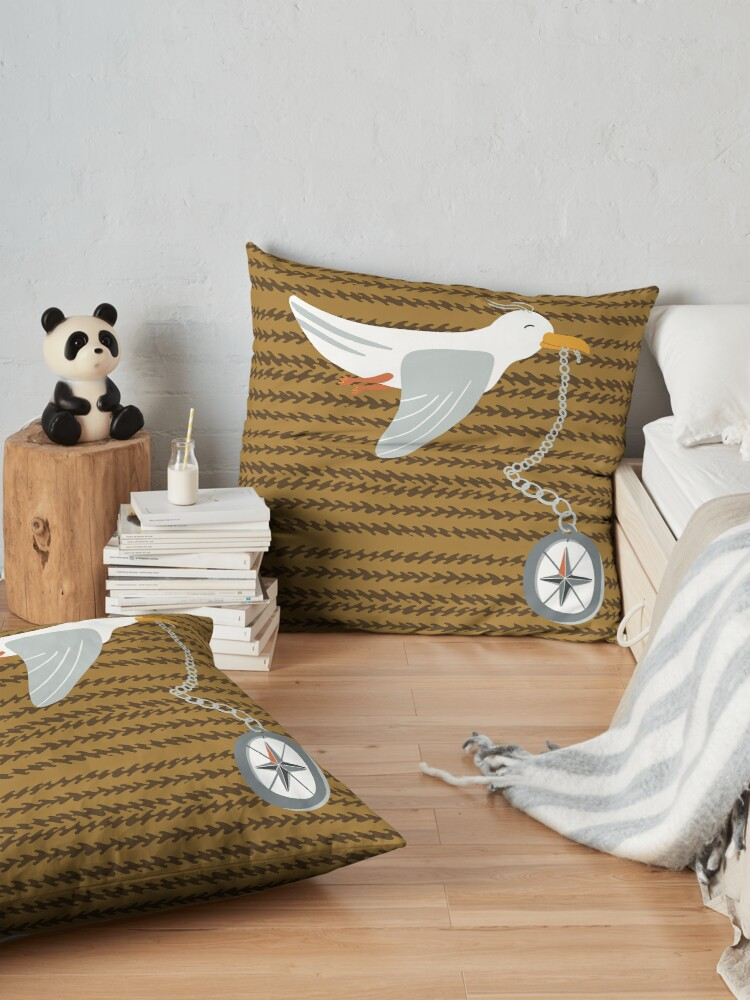 Alternate view of Funny seagull fleeing with compass in beak Floor Pillow