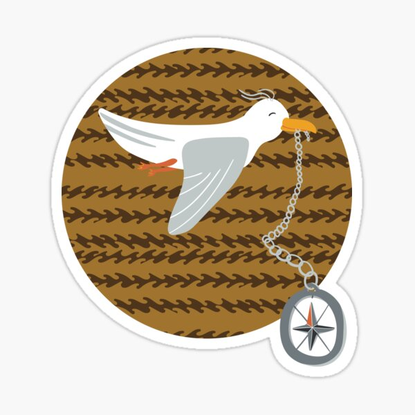 Funny seagull fleeing with compass in beak Sticker