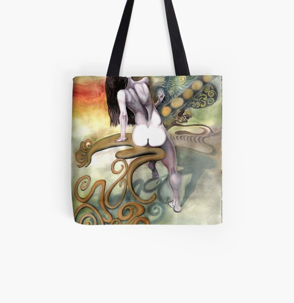 Woman & Abstract Chair All Over Print Tote Bag