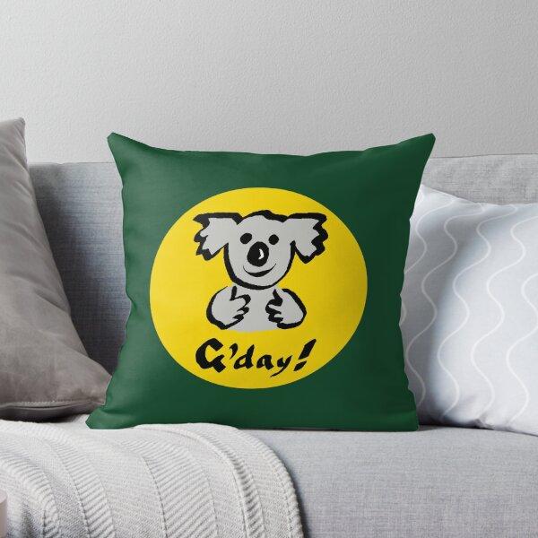 """Koala """"G'day!"""" Throw Pillow"""