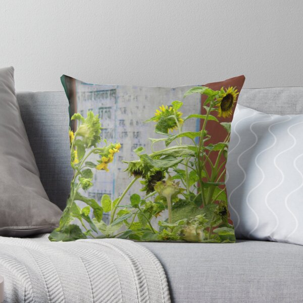 Urban Sunflowers Throw Pillow