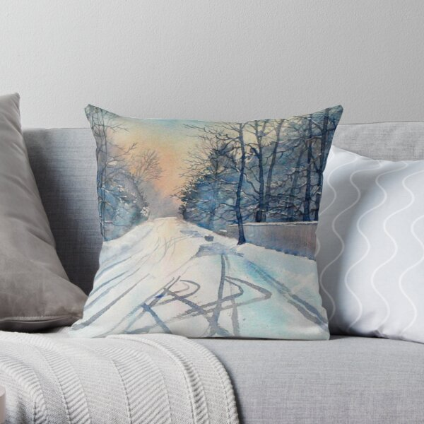 Layby in the Snow Throw Pillow