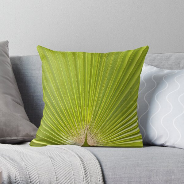 Green palm leaf Throw Pillow