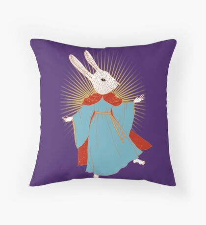 Saint Bunny has your back Throw Pillow