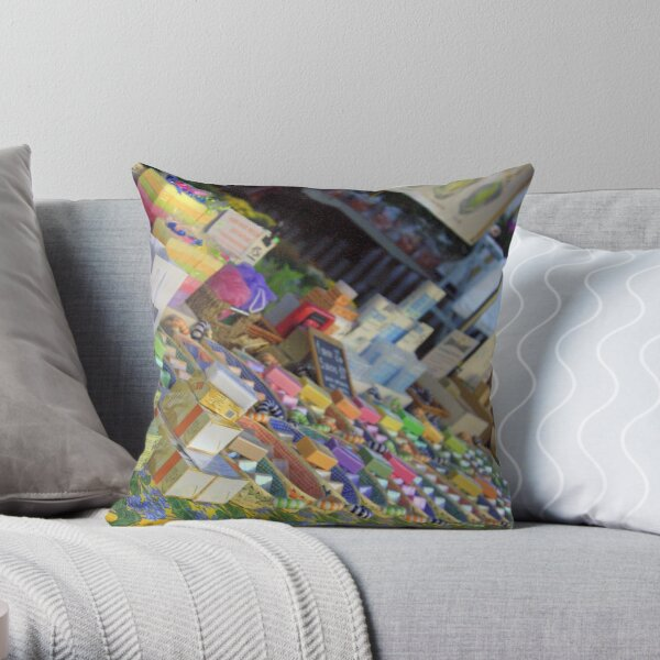 Soap stall Throw Pillow