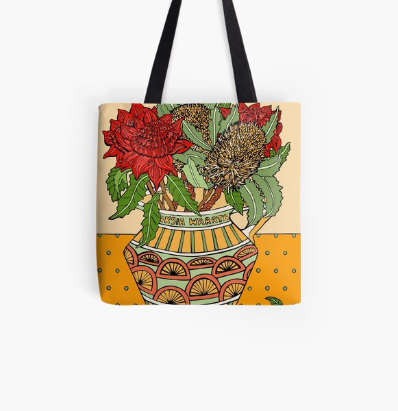 Banksias and Waratahs in a jug All Over Print Tote Bag